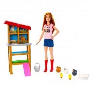 Set de joaca Papusa Barbie la Ferma de animale