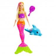 Papusa Barbie sirena blonda cu delfin