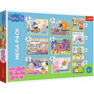 Puzzle Peppa Pig 10 in 1 - 20, 35 si 48 piese