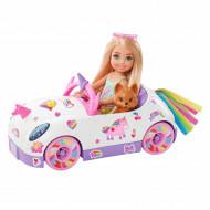Set de joaca Barbie Club - Papusa Chelsea si Masinuta Unicorn