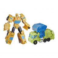 Set figurine transformabile Transformers Buzzworthy Bumblebee War for Cybertron - Bumblebee si Trash Crash
