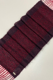 BURGUNDY WOOLEN SCARF - ručno tkan šal