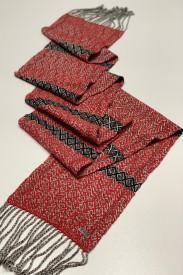 RED MIXED SCARF - ručno tkan šal