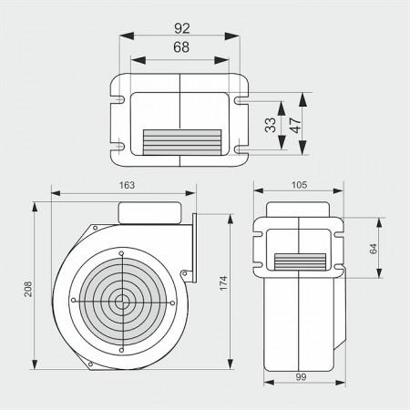 WPAx6 - ventilator centrifugal de insuflare aer cazan / ventilator centrala termica - 245mc/ora, 67W