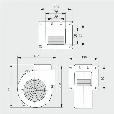 WPAx2 - ventilator centrifugal de insuflare aer cazan / ventilator centrala termica - 255mc/ora, 67W