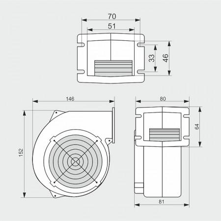 WPA097 /21W - ventilator centrifugal de insuflare aer cazan / ventilator centrala termica - 75mc/ora, 21W