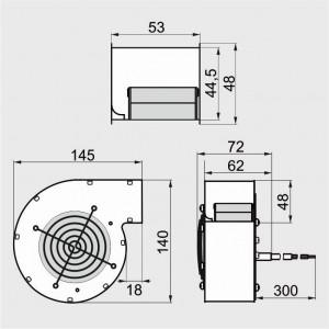 WPB 097 35W - ventilator centrifugal de insuflare aer cazan / ventilator centrala termica - 100mc/ora, 35W (cod orig. G2E097)