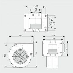 WPA108 - ventilator centrifugal de insuflare aer cazan / ventilator centrala termica - 155mc/ora, 41W