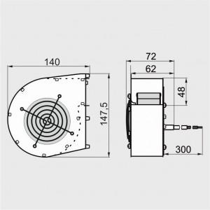 WPB 097 35W-10 - ventilator centrifugal de insuflare aer cazan / ventilator centrala termica - 100mc/ora, 35W