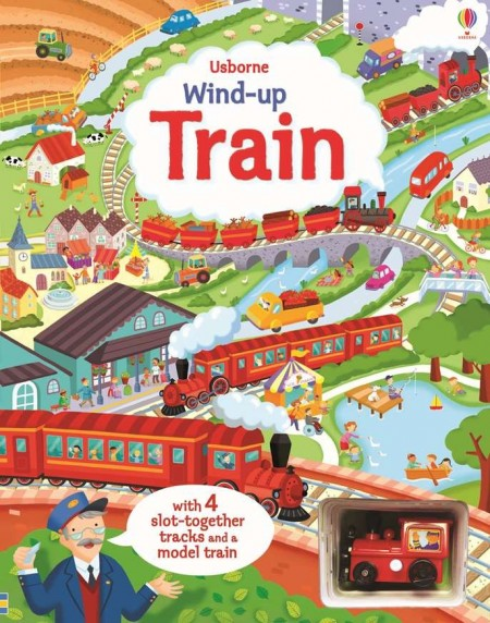 Wind-up train with slot togheter, carte cu jucărie, usborne
