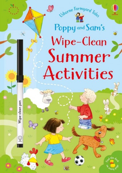 Carte de tip scrie si sterge, cu marker inclus, Poppy and Sam's wipe-clean summer activities, usborne + semn de carte cadou