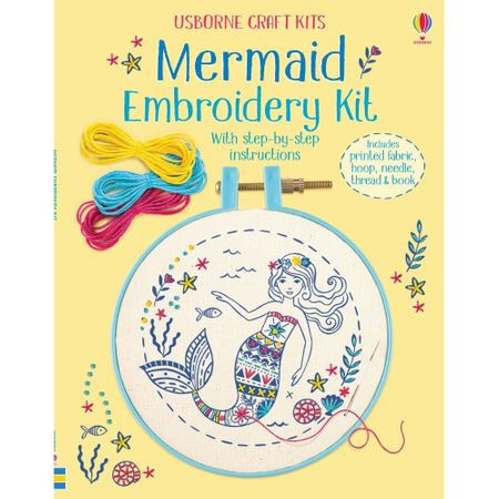 "Carte ""Embroidery kit: Mermaid"", 7 ani+, Usborne"