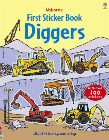 Diggers, first sticker book, usborne