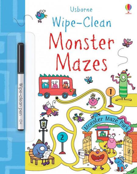 """Carte cu marker de tip """"scrie si sterge"""", Wipe-clean Monster mazes, Usborne"""