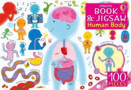Carte si puzzle 100 piese despre corpul uman, The Human Body jigsaw, Usborne, 5+