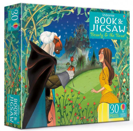 Carte și puzzle 30 piese, Beauty and the Beast picture book and jigsaw, usborne