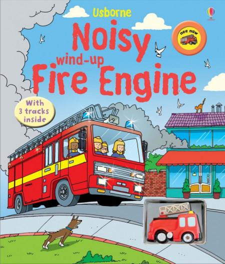 Carte sonora cu jucarie, Noisy wind-up fire engine, usborne