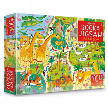 """Set Puzzle """"At the zoo puzzle book and jigsaw"""" , 5 ani+, Usborne"""