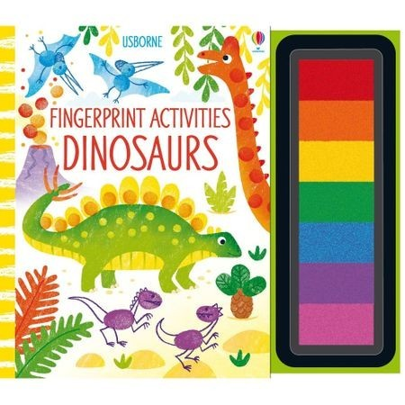 Carte de pictat cu degetele, fingerprint activities dinosaurs, cu tusiera inclusa, Usborne