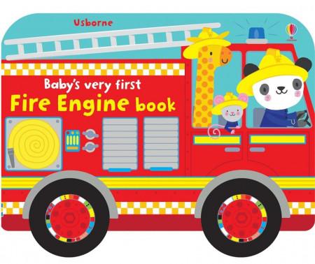 Carte pentru bebelusi cu rotite mobile, Baby's very first fire engine book, Usborne
