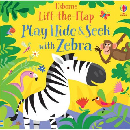"Carte ""Play Hide and Seek with Zebra"", cu pagini cartonate, 1 an +, Usborne"