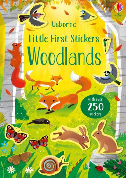Carte cu abtibilduri, Little First Stickers Woodlands, Usborne