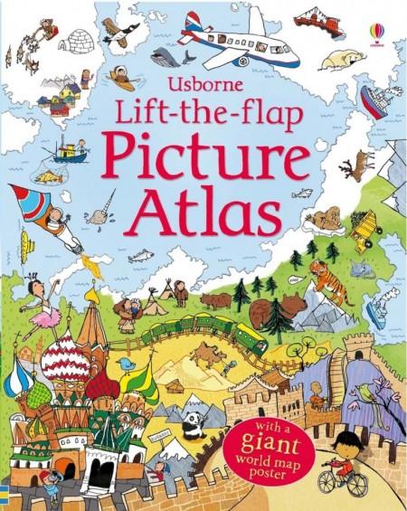 Carte cu multe clapete pentru copii curiosi, Lift the flap picture atlas, usborne