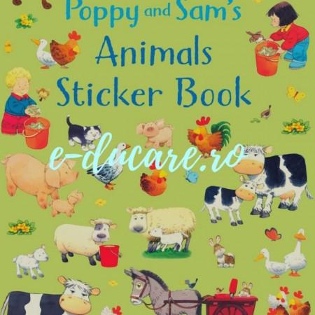 Poppy and Sam's animals sticker book, carte cu multe stickere pentru copii, Usborne