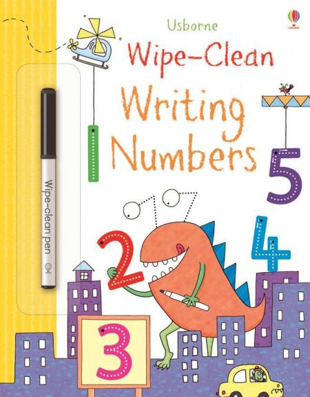 """Carte cu marker de tip """"scrie si sterge"""", Wipe-clean writing numbers, Usborne"""