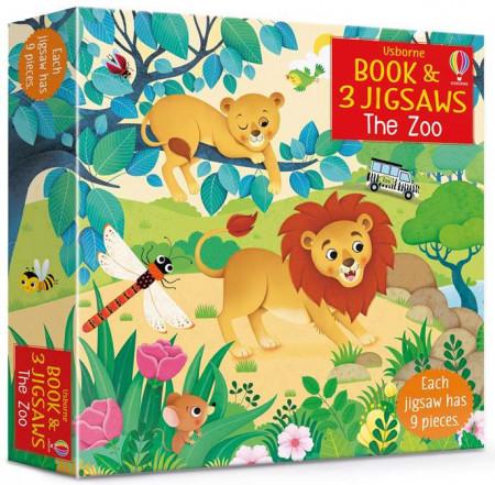 Carte cu trei puzzle-uri, book and 3 jigsaw the zoo