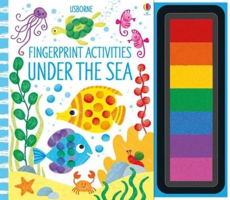 Carte de pictat cu degetele, tusiera cu 7 culori inclusa, Under the sea Fingerprint activities, usborne