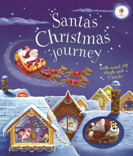Santa's christmas journey with wind-up sleigh, Sania lui mos craciun, carte si jucarie, usborne