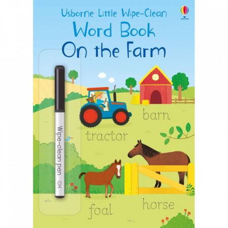 "Carte educativa de activitati ""On the Farm"", 3 ani+, wipe and clean, scrie si sterge, Usborne"