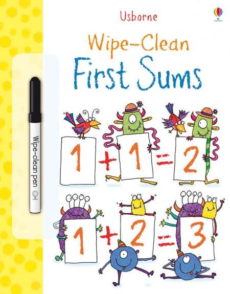 """Carte cu marker de tip """"scrie si sterge"""", Wipe-clean first sums, Usborne"""