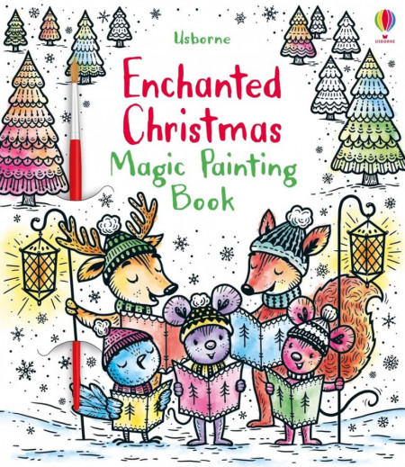 Carte de pictat doar cu apa, Enchanted Christmas Magic Painting, Usborne