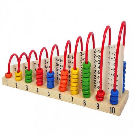Numaratoare cu abac educativ din lemn, tabla adunarii, tabla scaderii