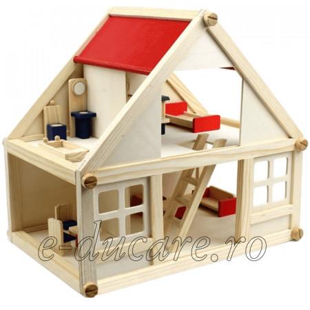 Structure House, casuta montessori din lemn natur cu 4 seturi de mobilier (parter si etaj)