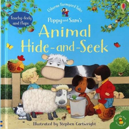 Animal hide and seek, Poppy and Sam's, carte senzorială, touchy feely, pentru bebeluși, cu clapete, usborne