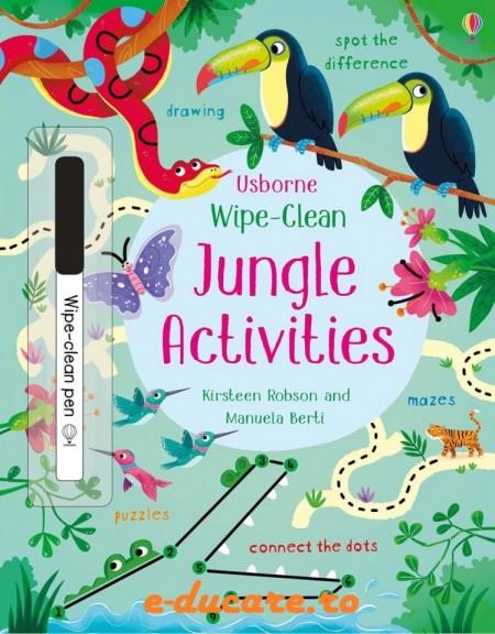 """Carte cu marker de tip """"scrie si sterge"""", Wipe-clean jungle activities, Usborne"""