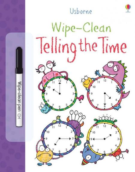 """Carte cu marker de tip """"scrie si sterge"""", Wipe-clean telling the time, Usborne"""
