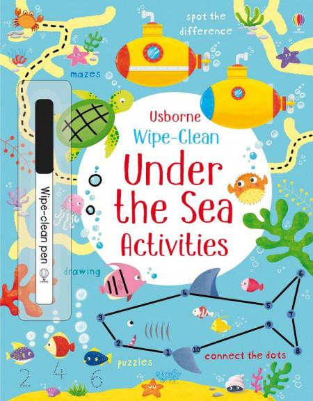 Carte de tip wipe and clean, cu marker inclus, Wipe-clean under the sea activities, Usborne