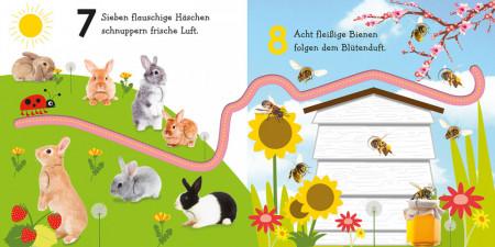 Carte in limba germana, senzoriala, invata sa numeri cu Maxi, Mein buntes Fingerspuren-Buch. Lerne zählen mit Maxi, dk, 1+