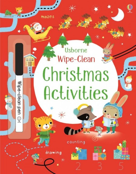 Wipe-clean Christmas activities, carte scrie si sterge la nesfarsit, usborne
