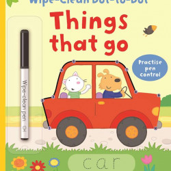 "Carte cu marker de tip ""scrie si sterge"", Wipe-clean dot to dot things that go, Usborne"