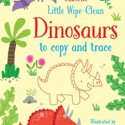 Carte de tip scrie si sterge la nesfarsit, cu marker inclus, Little wipe-clean dinosaurs to copy and trace, Usborne