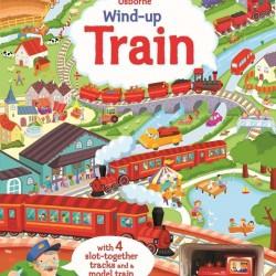 Wind-up train with slot togheter, carte cu jucărie, usborne