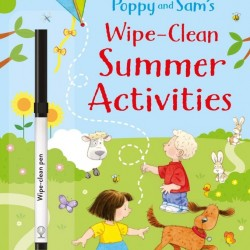 Carte de tip scrie si sterge, cu marker inclus, Poppy and Sam's wipe-clean summer activities, usborne + semn de carte cadou