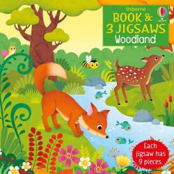 Carte si 3 puzzle-uri, Woodland jigsaw, Usborne, 3+