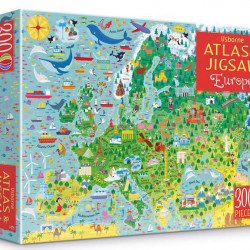 Carte și puzzle, Europe atlas jigsaw and picture book, usborne