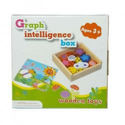 Joc educativ din lemn cu 12 piese inserabile, Wooden toys, 3+